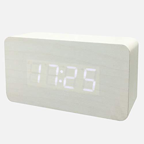 OCEANO AGD-Reloj LED Digital Alarma Despertador Dormido activada Sensor de luz registra TiempoEn la Pantalla del Despertador se Presenta la Hora, (Madera Blanca)