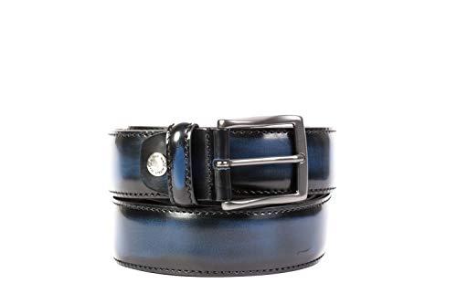 OAKS Cinture Dautore, uomo, cintura spazzolata a mano di Colore Blu,Vera Pelle di vitello,100% Prodotto Artigianale 100% Made in Italy