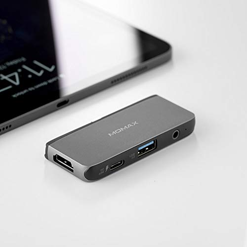 MOMAX One Link Multiport Adapter USB-C Hub PD Input Port USB 3.0 Port 5Gbps with 4K HDMI Audio Port Compatible with MacBook Air Mac Mini iMac Laptop PC DH11