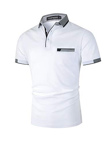 LIUPMWE Poloshirt Herren Kurzarm Baumwolle mit Brusttasche Polohemd Regular Fit Basic Streifen Tennis Golf T-Shirt,Weiß 1,XL