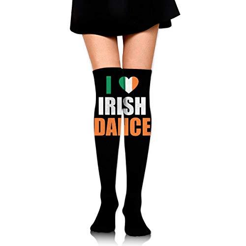 Hdadwy Knee High Socks I Love Irish Dance Women's Athletic Over Thigh Long Stockings