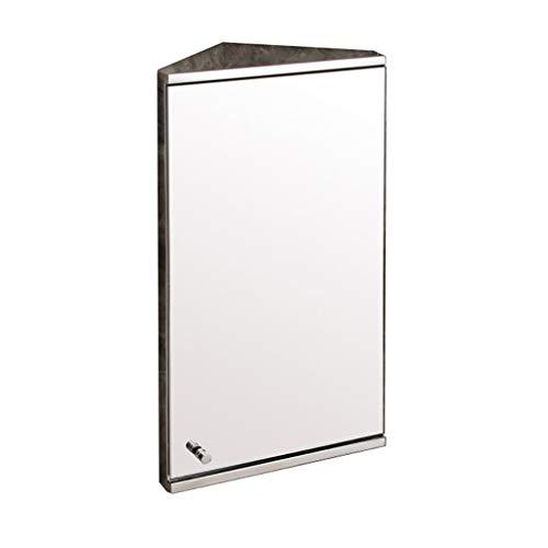 Wilk Commodes Badezimmer-Eckschrank, Badezimmerwandschrank, MehrzweckkücheStorage Organizer, mit Spiegel, Edelstahlrahmen, Badezimmerwandspiegel