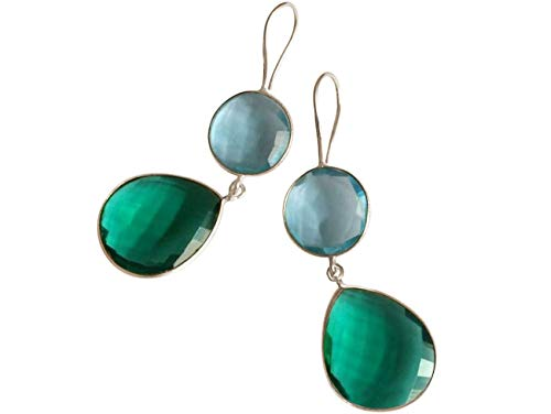 Gemshine Damen Ohrringe grüne Turmalin und Blautopas Quarz Tropfen. 925 Silber oder vergoldete Ohrhänger. Nachhaltiger, qualitätsvoller Schmuck Made in Spain, Metall Farbe:Silber