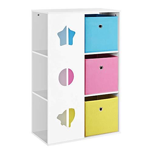 SONGMICS Kinderzimmerregal, Bücherregal, Spielregal, Spielzeugaufbewahrung, multifunktionale Aufbewahrungsboxen, Ablage, für Kinderzimmer, Spielzimmer, weiß, blau, pink und gelb GKR330W01