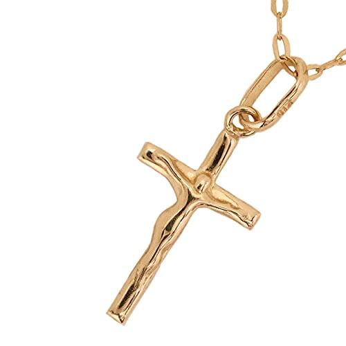 クロス キリスト クリスチャン 十字架 ペンダント k18 シンプル ゴールド 18k 18金 チャーム 小豆 長あずき チェーン トップ アズキ ネックレス メンズ レディース