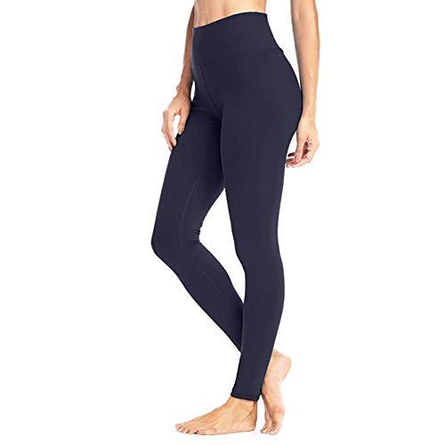 High Waisted Leggings for Women - Soft Athletic Tummy Control Pants for Running Cycling Yoga Workout - Reg & Plus Size Navy Blue