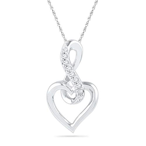 0.25Ct Round Cut Created Diamond Accent Infinity With Heart Pendant 18' In 10K White Gold Plated 4 Prongs