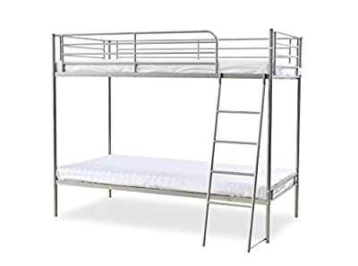 3ft Single Metal Frame Children Bunk Bed for Kids Twin Sleeper Option for Foam Mattress (Silver bed frame only)