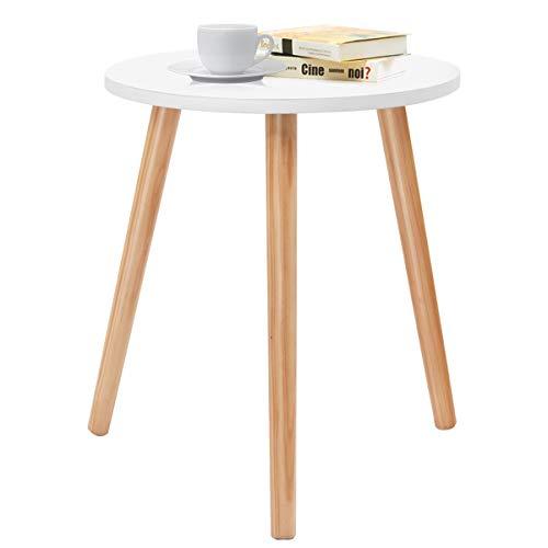 COSTWAY Kaffeetisch Beistelltisch Esstisch Küchentisch Nachttisch Holz weiß für Wohnzimmer, Schlafzimmer und Balkon 40x40x48cm