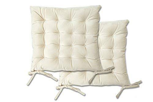 Emma Barclay luxe fluweel gewatteerde kussen stoel stoelen pads met banden - gewatteerd ontwerp - 40 x 40 x 6cm