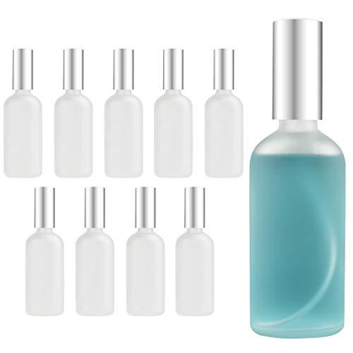 Belle Vous Frasco Vacío Pequeño Atomizador Perfume Cristal Esmerilado 100 ml (Pack de 10) Frascos para Perfume con Tapa - Rellenable Anti Derrame para Limpieza, Perfume, Bote Spray Aceites Esenciales