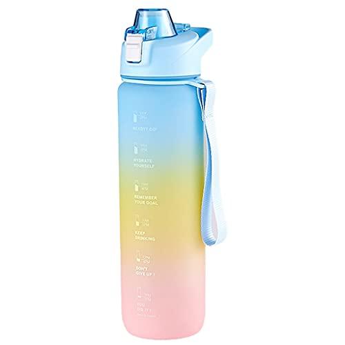 LIZHILIAN - Borraccia per bevande gassate, a prova di perdite, senza BPA, con indicatori orari per palestra