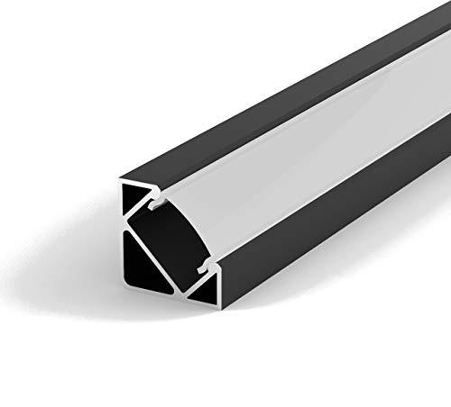 Set: LED Profil, 100cm Profil LED 45° für LED Streifen, Aluminium led Profil LT3 + Abdeckung (Schwarz, Milchig)