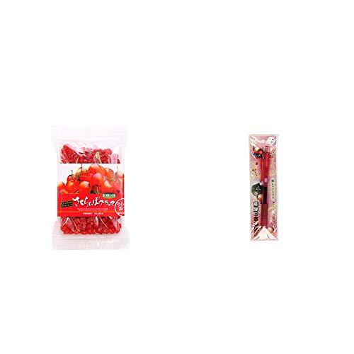 [2点セット] 収穫の朝 さくらんぼグラッセ ラム酒風味(180g)・さるぼぼ 癒しボールペン 【ピンク】