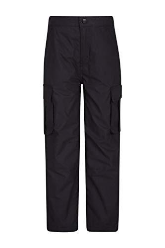 Mountain Warehouse Winter Trek Youth Hose - Schnelltrocknende Kinderhose, 4 Taschen, schrumpffrei und ausbleichsicher - Ideal Für Reisen bei kaltem Wetter, Frühling Schwarz 7-8 Jahre