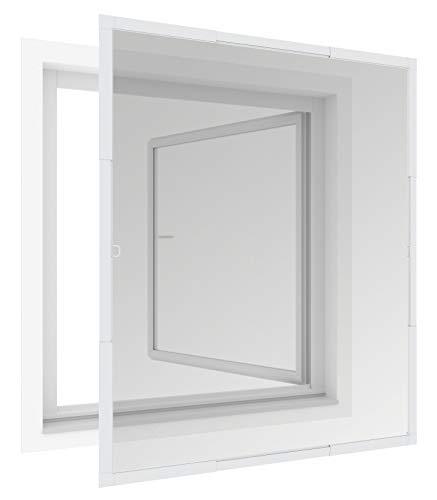 Windhager FlexiFit Rahmenfenster Insektenschutz teleskopierbares Fliegengitterfenster Flexi Fit, Spannrahmen-Fenster, Teleskopfenster ohne Sägen, 100 x 120 cm, weiß, 04303