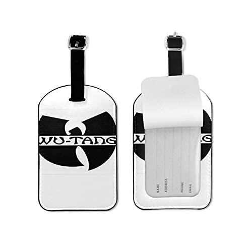Wu-Tang Clan Etiquetas de equipaje Maleta Etiquetas de equipaje Titular de tarjeta de visita Bolsa de viaje Etiqueta de viaje Maleta Etiquetas de microfibra PU Cuero 2.7 x 4.3 pulgadas