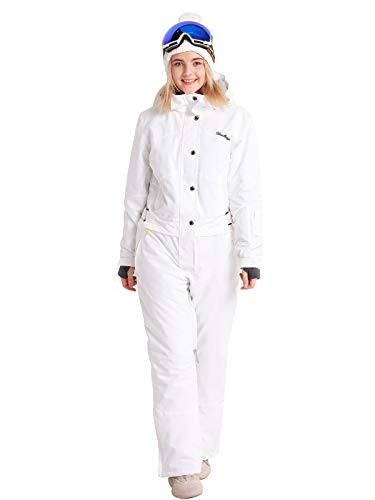 Bluemagic Womens One Pieces Ski Suits Jumpsuits Coveralls Winter Outdoor Waterproof Snowsuits for Snow Sports(XL,White-2020)