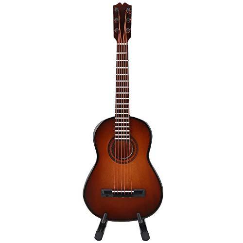 Guitarra em miniatura vintage, decoração de guitarra, ornamento musical de decoração para casa para presente para exibição(Brown, 14cm)
