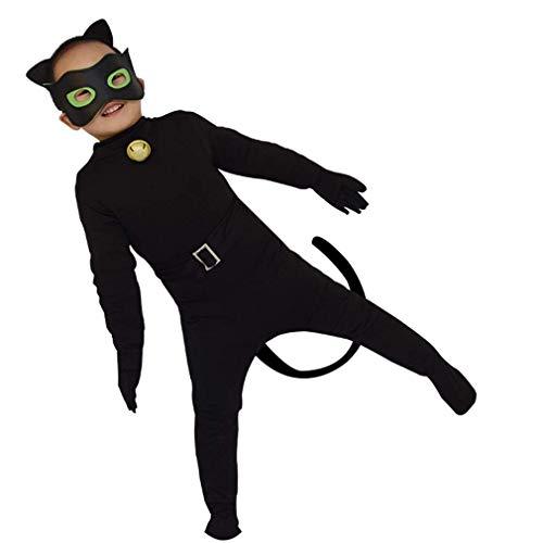 wetry - 5pcs Cat Noir Kostüm für Kinder Jungen und Mädchen Faschingskostüme Cosplay Unisex