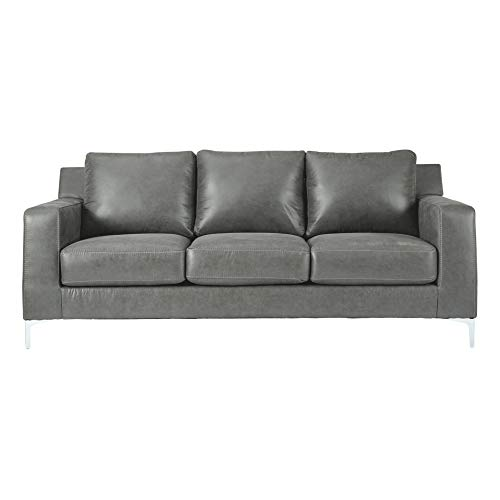 Signature Design by Ashley - Ryler Modern Faux Leather Sofa, Dark Gray