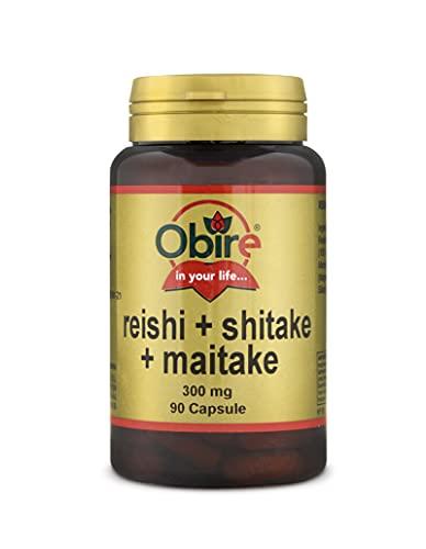 Obire | Reishi + shitake + maitake 300 mg | 90 Cápsulas (Pack 2 unid.)