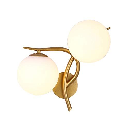 Qyyru Aluminium Glas LED Doppelkopf Schwarz Wandleuchte Nordic Einfache Kreative Persönlichkeit Wandleuchten Schlafzimmer Nacht Gang Moderne Metall Tuch Lampenschirm Wandbeleuchtung, Gold Farbe