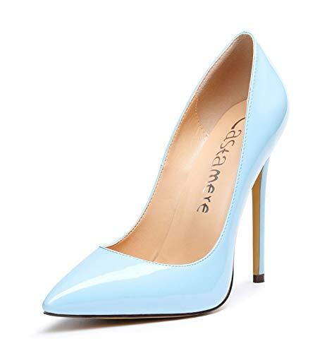 CASTAMERE Damen High Heels Spitzen Zehen Stilettos Slip on Pumps 12CM Hellblau Lackleder Schuhe EU 39