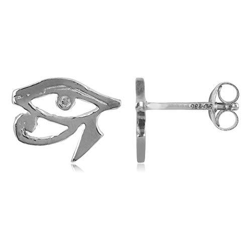 Pendientes en plata de ley 925 con zirconita con diseño Ojo de Horus - PROTECCIÓN