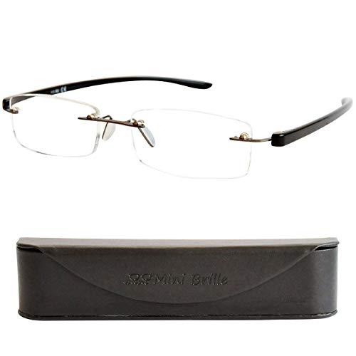 Lesebrille Randlos mit Rechteckigen Gläsern - mit GRATIS Slim-Fit Brillenetui, Edelstahl Rahmen mit flexiblen Bügeln (Schwarz), Lesehilfe Herren und Damen +1.0 Dioptrien
