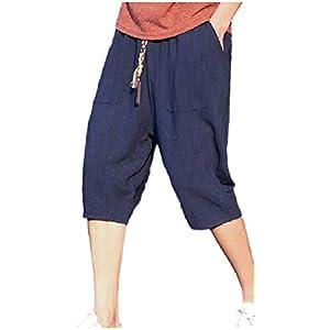 [フローライズ] 綿麻 パンツ メンズ ゆったり ハーフ パンツ ズボン コットン リネン FL144 ネイビー L