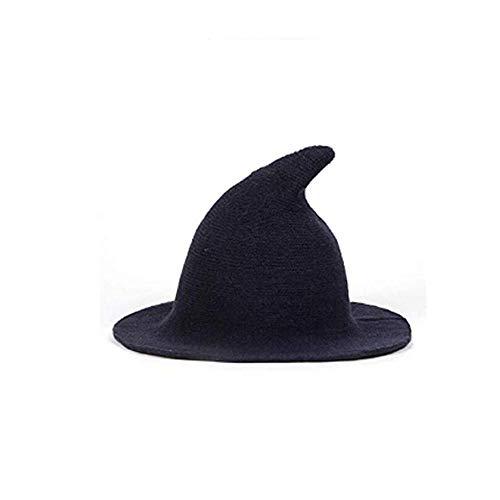 ICYANG Frauen Wolle Sharp Spitz Hexe Hut für Halloween Weihnachten Kostüm Party Masquerade Cosplay Mütze, Moderne Breiter Krempe Cap für Alle Jahreszeiten,Blau