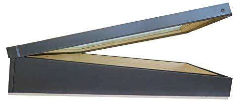 Finestra per tetti piani con accesso al tetto 74x80 cm   Vetro camera doppio vetro isolante antigrandine   in legno e alluminio   Modello Tetto Piano per case con tetto piatto ECO