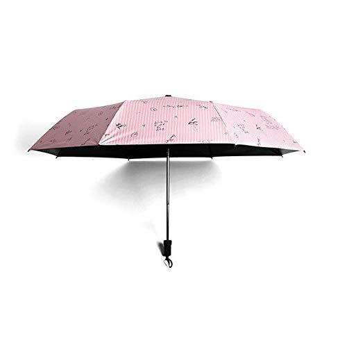 NJSDDB paraplu-strepen-woorden draagbare paraplu-regen-vrouwen-klapparaplu vrouwelijke zonnige parasol charmante parasol minitas paraplu geven schip vrij, roze (roze) - 6929247016138