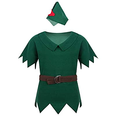 TiaoBug Kids Boys Costumes Short Sleeves T-Shirt with Hat Halloween Cosplay Party Fancy Dress up (Dark Green, 12-18 Months)