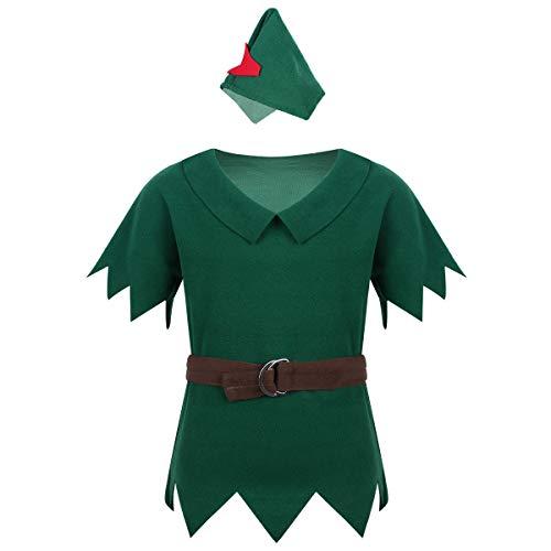 IEFIEL Disfraz Infantil Traje de Carnaval Halloween para Niños Dsifraces de Elfo Top Blusa + Sombrero Disfraz de Santo Equipo del Duende 1-10 Años Verde Oscuro 12-18 Meses