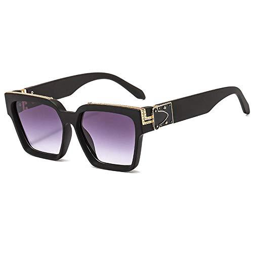 Sonnenbrille Herren Vintage Square Sonnenbrille Damen Herren Retro Mode Bunte Sonnenbrillen Damenbrillen Uv400 C5Black-Grey