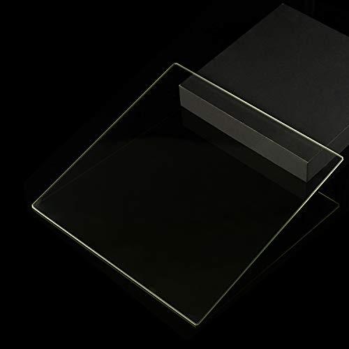 Piastra in vetro temperato 200 x 213 x 3 mm per stampanti 3D, vetro piano con bordi lucidi.