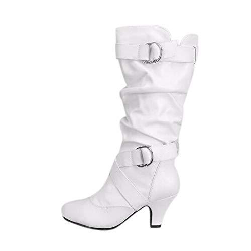 WUSIKY Stiefeletten Damen Mode über Knie hohe Stiefel High Heel lange Oberschenkel Stiefel Bootsschuhe Damen Schuhe Stiefel (Weiß, 42 EU)
