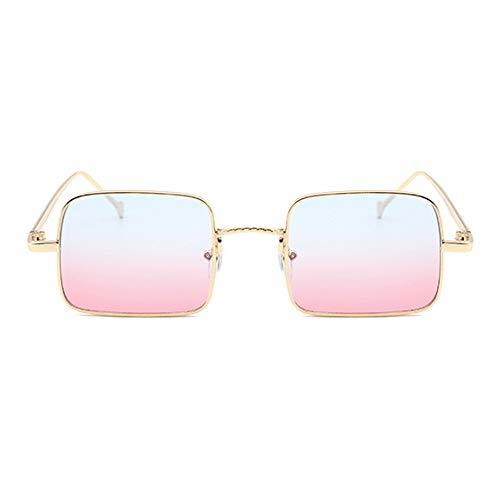 XFSE Gafas de sol Nuevo Dorado Pequeña Frontera Gafas De Sol Mujer Cuadrado Retro Conducción Hombres UV400 Protección Azul Rosa Gradient Lens