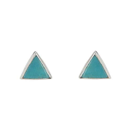 Pura Vida Silver Gemstone Triangle Stud Earrings w/Turquoise - .925 Sterling Silver - 1 Pair