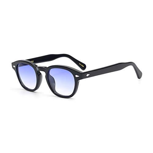 Pirata capitano Johnny Depp stile plastica ovale occhiali da sole moda uomini e donne occhiali da sole di guida dell'annata può fare prescrizione o Gradation occhiali da sole lente (Blu)