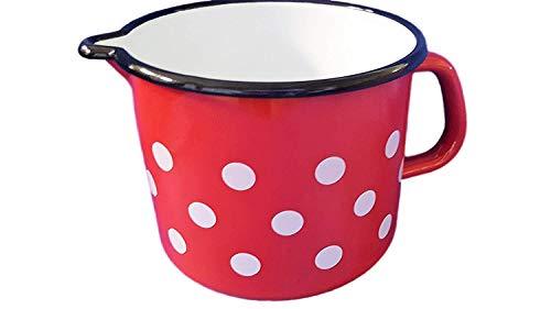 Zimmermann24de Hochwertiger Milchtopf Emaille 14 cm - 1,5 Liter Rot weiße Punkte