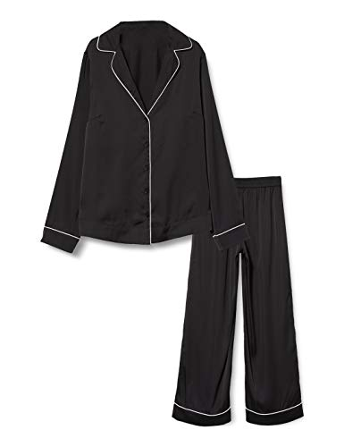 Iris & Lilly Damen Pyjama-Set aus Baumwolle, Schwarz (Black Beauty), S, Label: S
