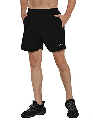 DEMOZU Men's 5 Inch Dry Fit Running Shorts Lightweight Workout Athletic Gym Shorts with Zipper Pockets,Black,Medium