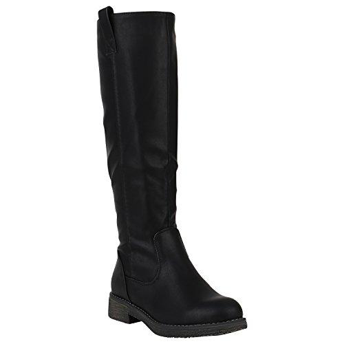 Gefütterte Damen Stiefel Reiterstiefel Langschaft Boots Schuhe 149761 Schwarz Berkley 39 Flandell