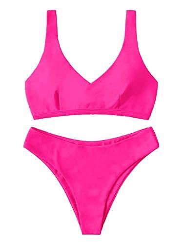 SheIn Women's Summer 2 Pieces Tropical Lace Up Bra Bottom Bikini Swimwear Set Medium Pink