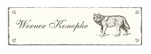Selbstklebendes Türschild « WOLF » Schild mit persönlichem Wunschnamen - Familie Namensschild Klingelschild - Tiere Wölfe