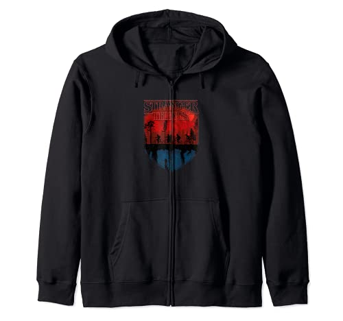 Stranger Things Group Shot Mindflayer Trail Silhouettes Sudadera con Capucha