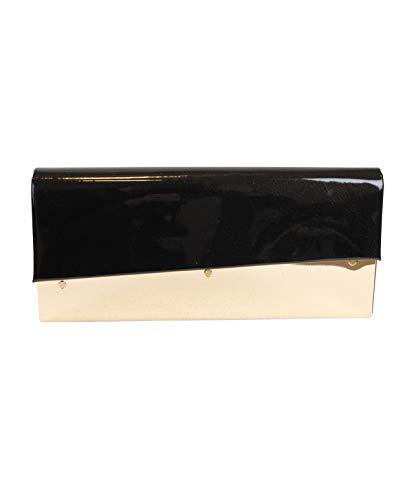 Eferri, Bolso de noche fiesta Aielo para Mujer, Negro, 27x12x6 cm